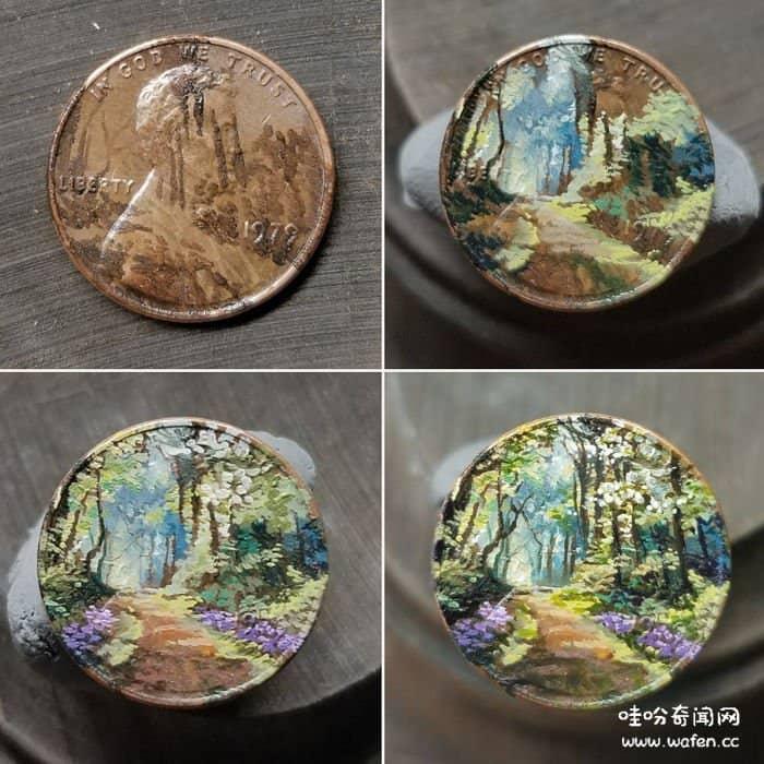 才华横溢的画家把微薄的钱币变成了精美的艺术品